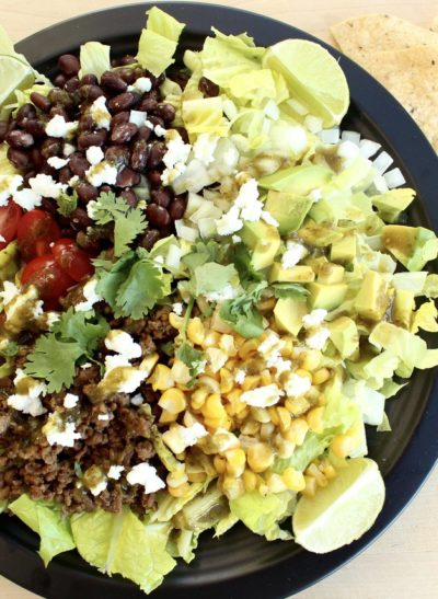 Taco Salad with Goat Cheese and Green Dragon Sauce
