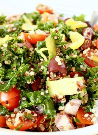 Kale Quinoa Greek Salad with Lemon Balsamic Vinaigrette